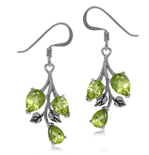 Silvershake Natural Stone Leaf Dangle Hook Earrings