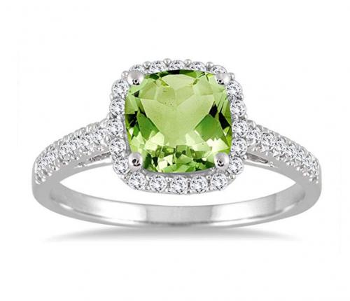 Szul Diamond Ring in 10K White Gold and Peridot Stone