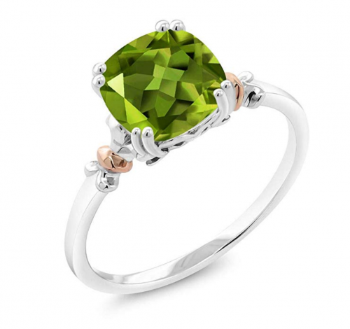 Gem Stone King Sterling Silver and 10K Rose Gold and Peridot Stone Ring