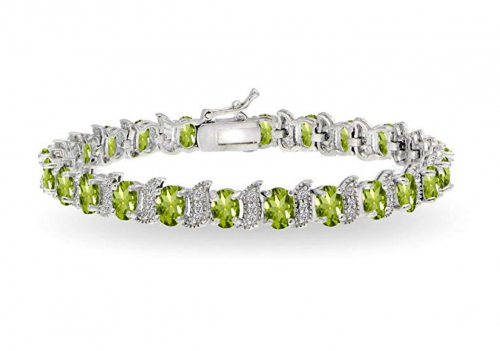 GemStar USA Sterling Silver Oval Gemstone Bracelet
