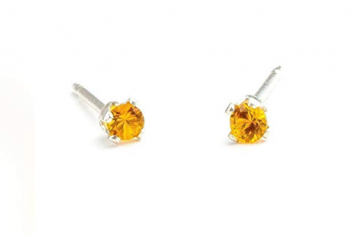 Melanie Golden Jewelry Tiny Yellow Orange Earrings in Sterling Silver