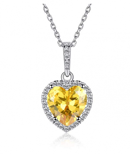 ChicSilver Heart-Shaped November Birthstone Necklace