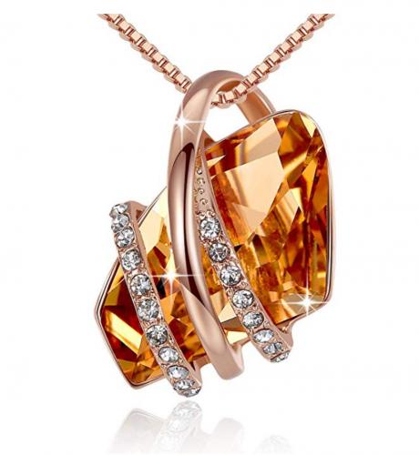 Leafael Wish Stone Pendant with Swarovski Crystals