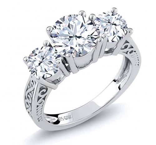 Gem Stone King White 3-Stone Ring
