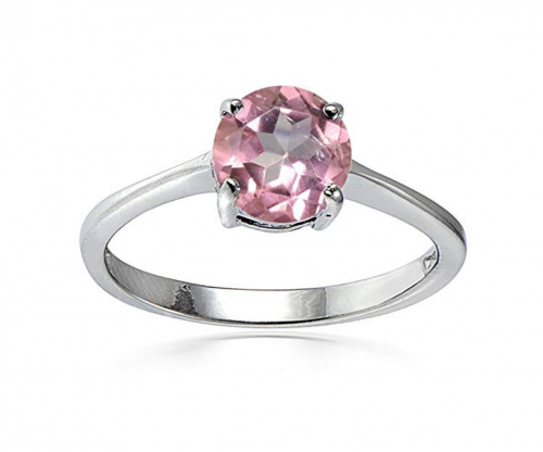 Ice Gems Sterling Silver Treated Light Pink Solitaire Ring