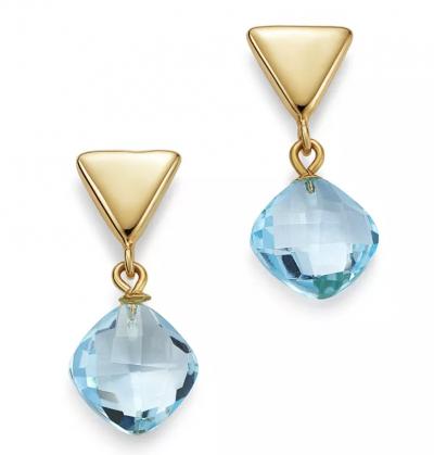 Bloomingdale's Blue Topaz Triangle Drop Earrings