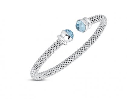 Kay Jewelers Blue Topaz Popcorn Mesh Cuff Bracelet