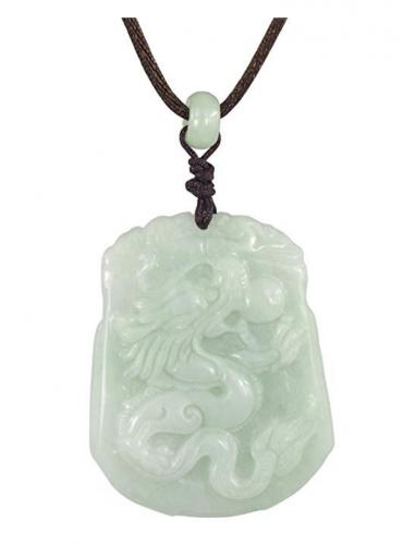 Dahlia Dragon/Phoenix Grade A Jadeite Pendant