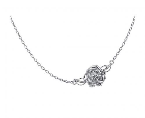 Silver Mountain Sideways Camellia Flower - Silver Choker