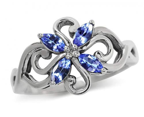 Silvershake Vintage Tanzanite Silver Ring