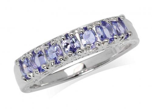 Silvershake Genuine Tanzanite Journey Ring