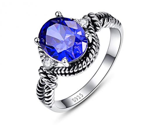 BONLAVIE Oval Cut Blue Tanzanite Ring