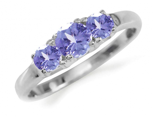 Silvershake Petite 3-Stone Tanzanite Ring