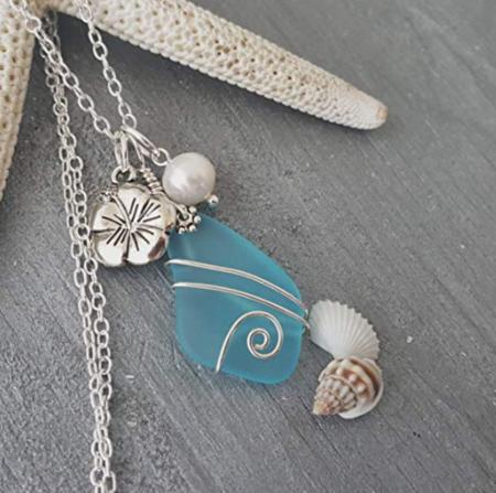 Yinahawaii Blue Sea Glass Necklace