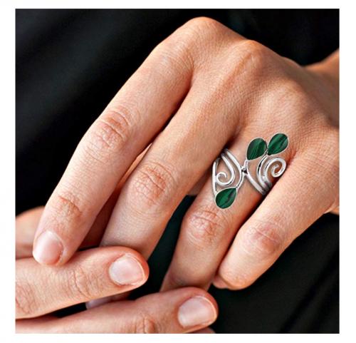 AeraVida Floral Vine Silver Ring