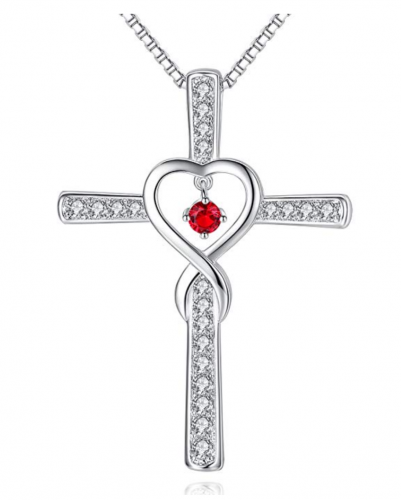 Milamiya Infinity Love God Cross with Ruby - LEO (Available in All Birthstones)