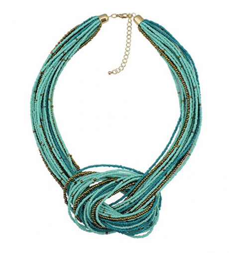 6. Bocar Seed Beads Multilayer Chunky Knot Statement Necklace