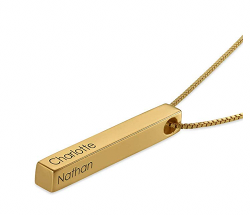 8. MyNameNecklace Personalized 4 Sided Vertical Statement Necklace