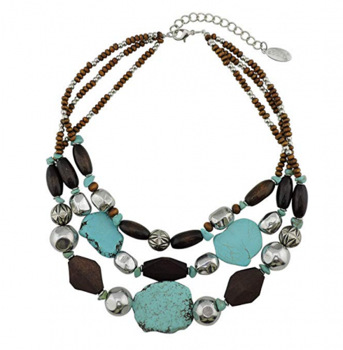 2. Bocar Personalized Layered Strands Turquoise Statement Necklace