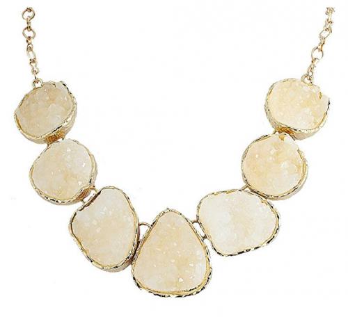 4. JANE STONE Fashion Drusy Stone Bead Statement Necklace