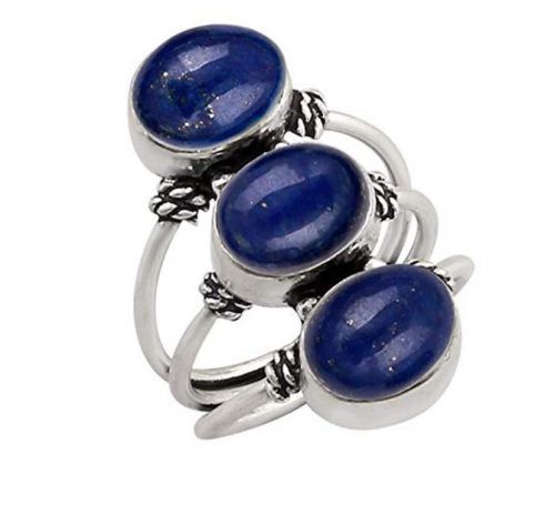 4. 925 Sterling Silver Plated Genuine Gemstone Three Stone Ring