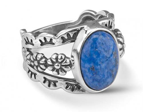 5. American West Sterling Silver Blue Denim Floral Ring