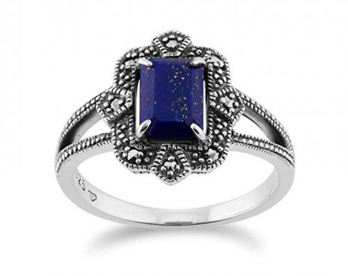 9. GemondoArt Deco Lapiz Lazuli & Marcasite Ring