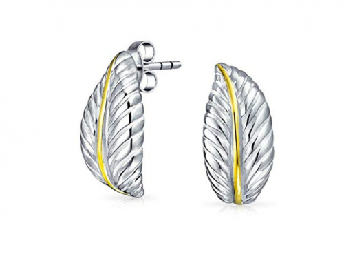Nature Leaf Shaped Craved Two Tone Curved Stud Earrings