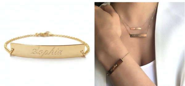 Zoe Lev Jewelry Engraved Nameplate Bracelet