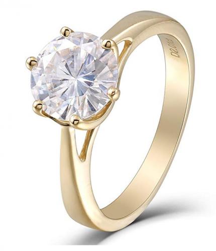 DovEggs Solid Moissanite Diamond Engagement Ring
