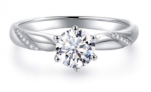Stunning Flame Solitaire Engagement Ring
