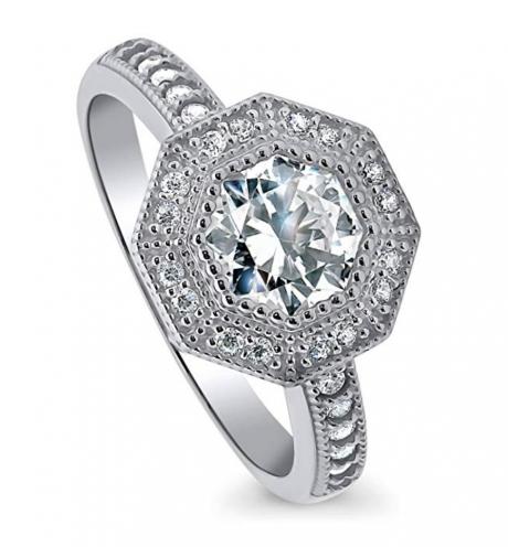 BERRICLE Sterling Silver Halo Milgrain Ring