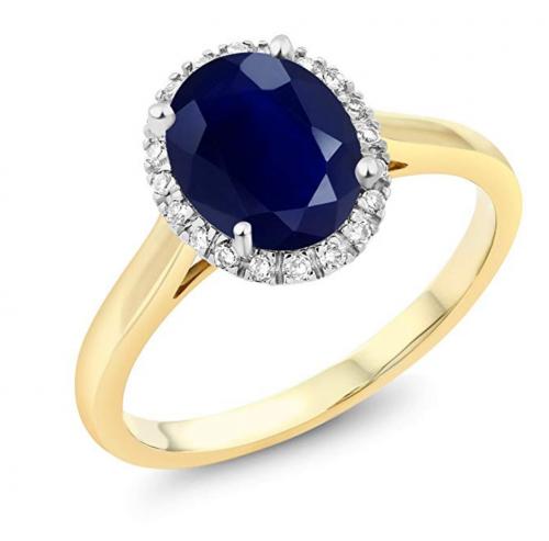 Gem Stone King Blue Sapphire with Diamond Halo