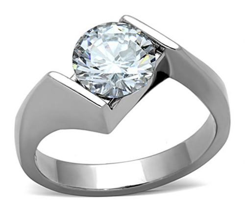 Marimor Jewelry Cubic Zirconia&Stainless Steel Ring