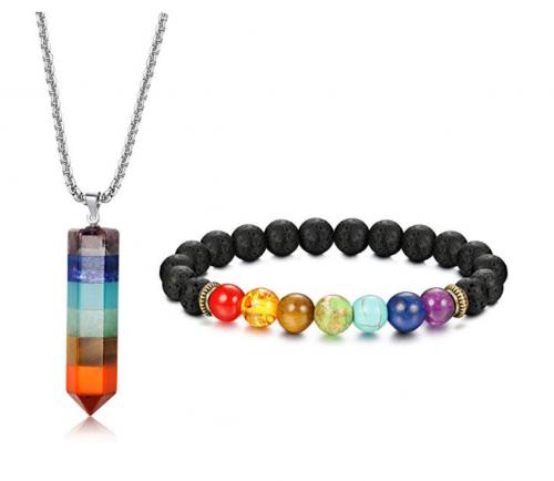 4. Jstyle 7 Chakra Gemstone Bracelet + Pendant