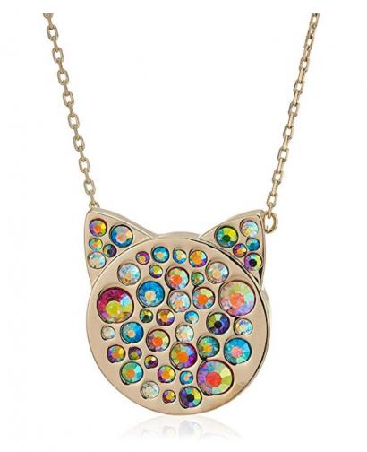 5. Betsey Johnson Multi-Stone Pave Cat Necklace