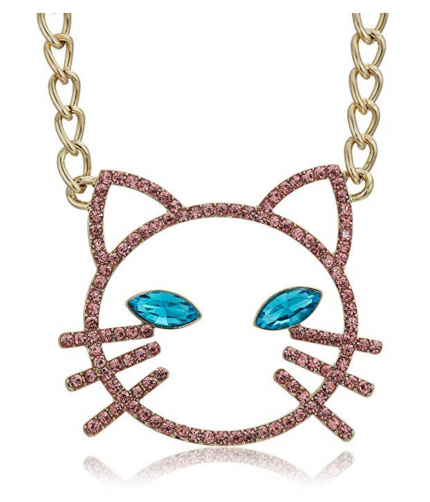 6. Betsey Johnson Pink Stone Open Cat Necklace