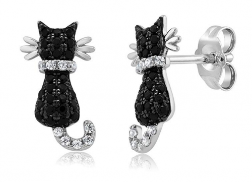 8. Gem Stone King Cat Stud Earrings