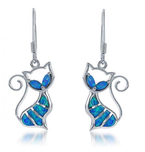 9. Beaux Bijoux Blue or White Opal Cat Earrings