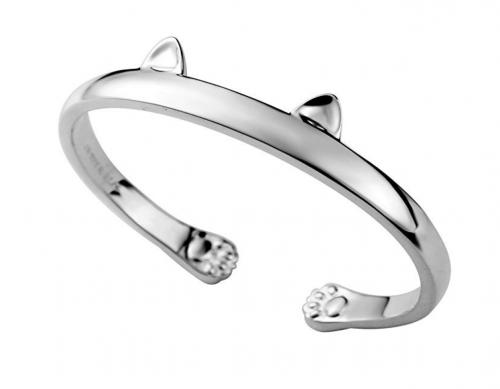 10. JEWME 925 Sterling Silver Cat Cuff Bracelet