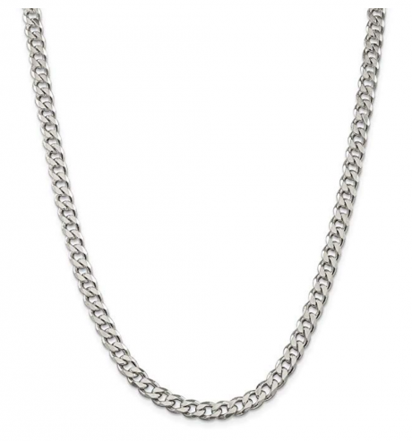 925 Sterling Silver 7mm Link Curb Chain Necklace