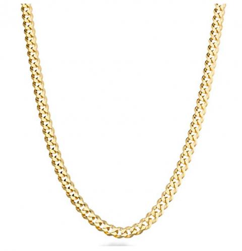 MiaBella Solid 18K Gold Over Sterling Diamond-Cut Cuban Link