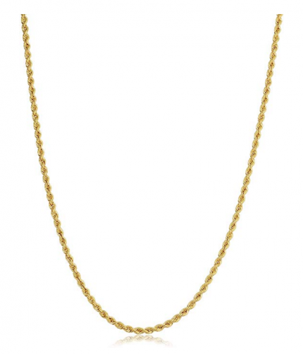 Kooljewelry 14k Yellow, White or Rose Gold 0.8mm Rope Chain Necklace