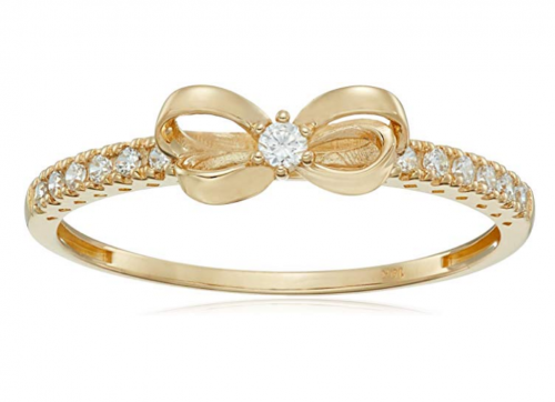 Amazon Collection 10K Gold Dainty Bow Ring