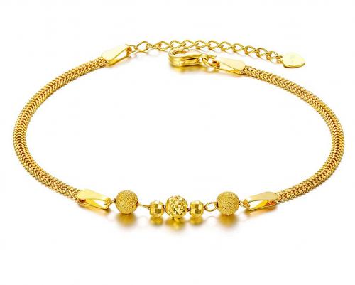 Sisgem Real Gold Bead Chain Thin Bracelet