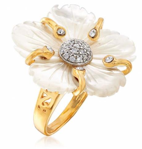 Ross-Simons Italian Mother-Of-Pearl Flower Ring