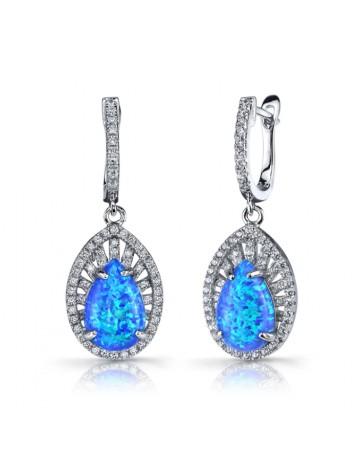 Ruby & Oscar Blue Opal & CZ Nebula Drop Earrings