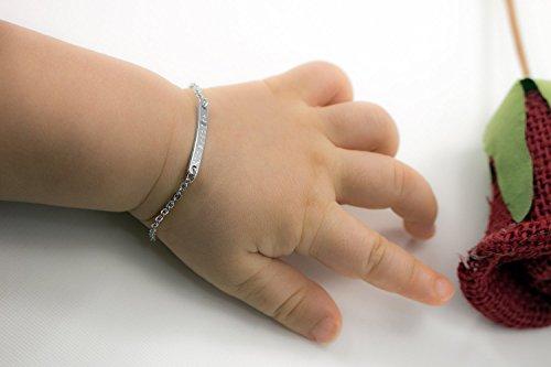Baby Name Bar id Bracelet on Hand
