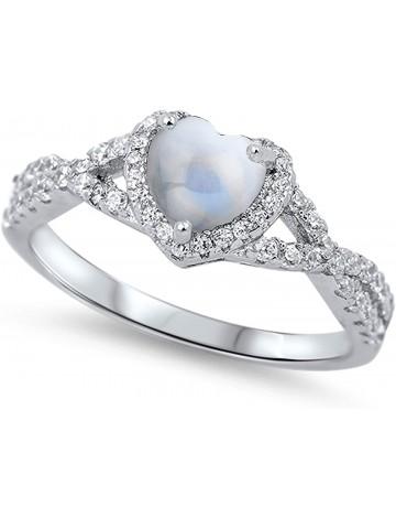Sac Silver Heart Halo Moonstone Ring
