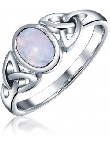 Celtic Trinity Knot Rainbow Moonstone Ring
